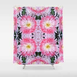 Rose Pink White Flower Blossoms Dahlias Shower Curtain