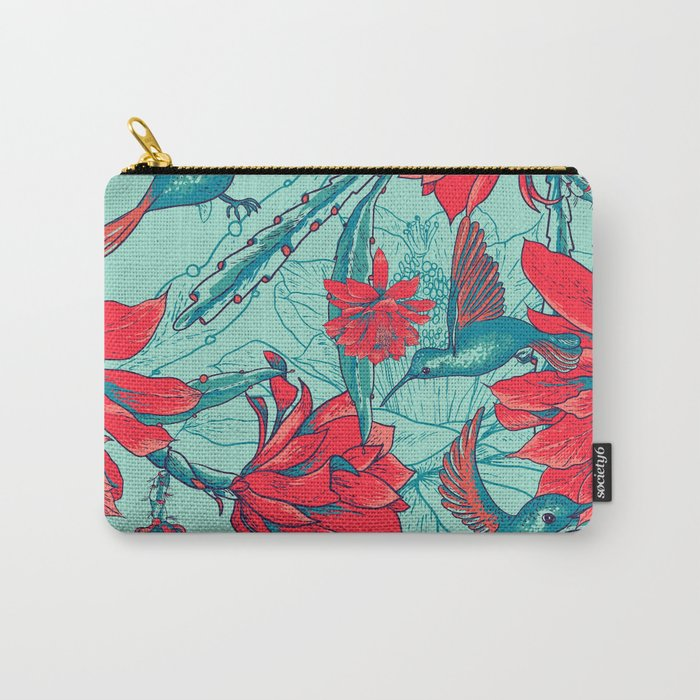 Flowers and Hummingbirds Carry-All Pouch