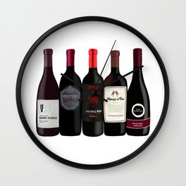 Red Wine Bottles Wall Clock