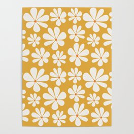 Floral Daisy Pattern - Golden Yellow Poster