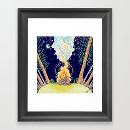 Woodland Campfire Framed Art Print