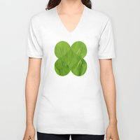 green pattern V-neck T-shirts featuring Green by Artemio Studio
