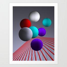 converging lines and balls -2- Art Print
