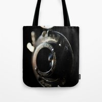 camera Tote Bags featuring camera by Ingrid Beddoes