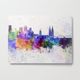 Cologne skyline in watercolor background Metal Print