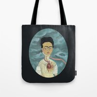 frida kahlo Tote Bags featuring Frida Kahlo by Chris Talbot-Heindl