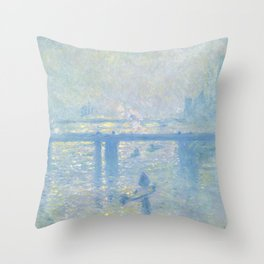 1899-Claude Monet-Charing Cross Bridge-65 x 80 Throw Pillow