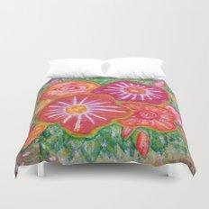 Orange Fantasy Flowers Duvet Cover
