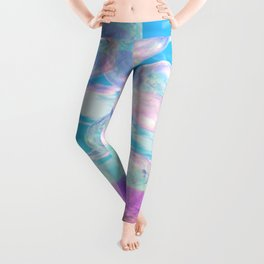 Sky Blue Pink, Abstract Summer Afternoon Watching the Clouds Leggings