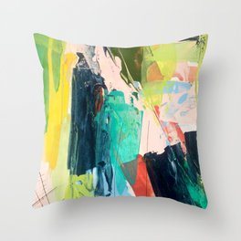 Bloom [2] - a bright mixed media piece in pinks, greens, blues, and yellow Throw Pillow