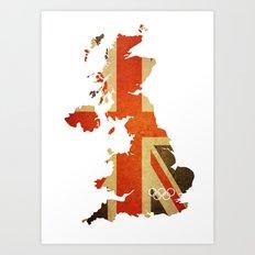 Union Jack Map - Olympics London 2012 Art Print