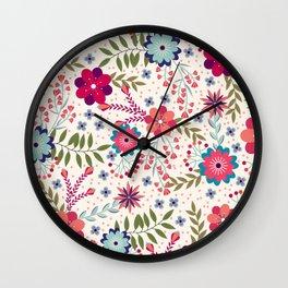 Beautiful Flower Pattern Art Wall Clock