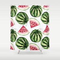 vegetarian Shower Curtains featuring Watermelon pattern. by Julia Badeeva