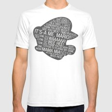 Super Mario Typography White Mens Fitted Tee SMALL