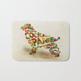 The Cocker Spaniel Dog Typography Art / Watercolor Painting Bath Mat
