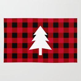 Christmas Tree - red buffalo check Rug