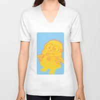 minion V-neck T-shirts featuring minion by cos-tam