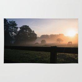 Sunrise with horses  Rug