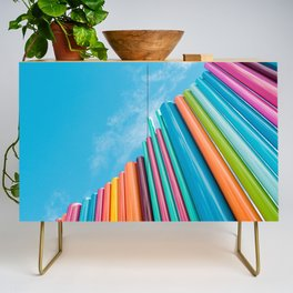 Colorful Rainbow Pipes Against Blue Sky Credenza