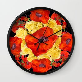 ORANGE POPPIES FLORAL & YELLOW ROSES BLACK ART Wall Clock