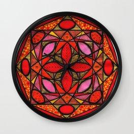 Red mandala of love Wall Clock