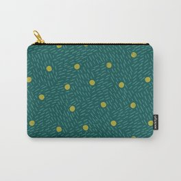 Polka dots and dashes // teal and olive Carry-All Pouch