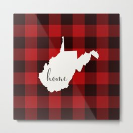 West Virginia is Home - Buffalo Check Plaid Metal Print
