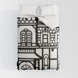 Old Victorian House - black & white Comforters