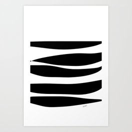 Irregular Stripes Black White Waves Art Design Art Print