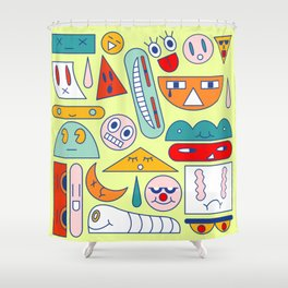 Funny geometric faces Shower Curtain