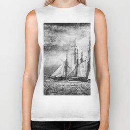 black and white ship Biker Tank