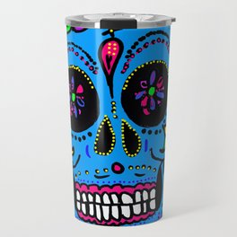 Sugar Skull Blue Floral Travel Mug