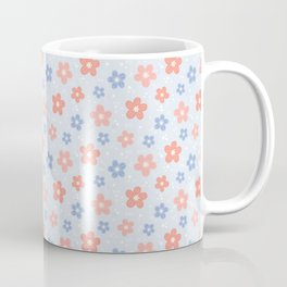 Blue Pink Flower Pattern Coffee Mug