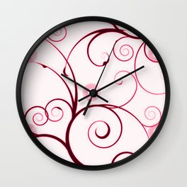 Cranberry Red Swirls and Circles Wall Clock