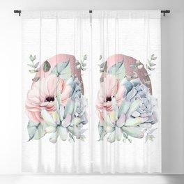 Pretty Succulents - Rose Gold Sun by Nature Magick Blackout Curtain