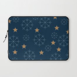 Snowflakes and stars - dark blue and beige Laptop Sleeve