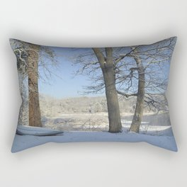 December Snow Delaware River View Rectangular Pillow
