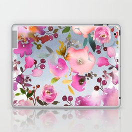 Hand painted pink violet gray watercolor floral Laptop & iPad Skin
