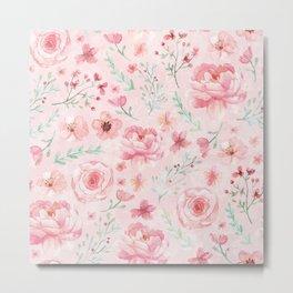 Pink Sweety Floral Metal Print
