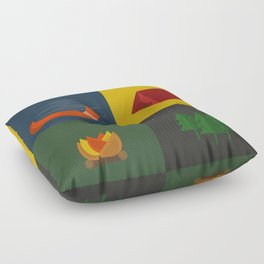 Camping Series: Canoe, Tent, Fire, Trees Floor Pillow