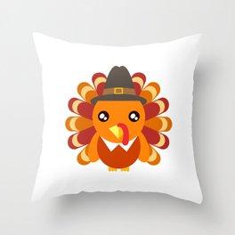 Cute Turkey Wearing A Hat Happy Turkey Day Thanksgiving Save A Turkey Awareness T-shirt Design Throw Pillow
