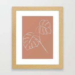 Monstera minimal - earth Framed Art Print