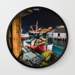 Peggy's Cove by Night Wall Clock