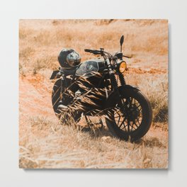 Old motorcycle photo, café racer, man cave gift, mancave, scrambler, cafe racer Metal Print