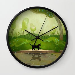 Kitty on a rainy day Wall Clock
