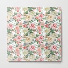 White and Pink Roses Pattern Metal Print