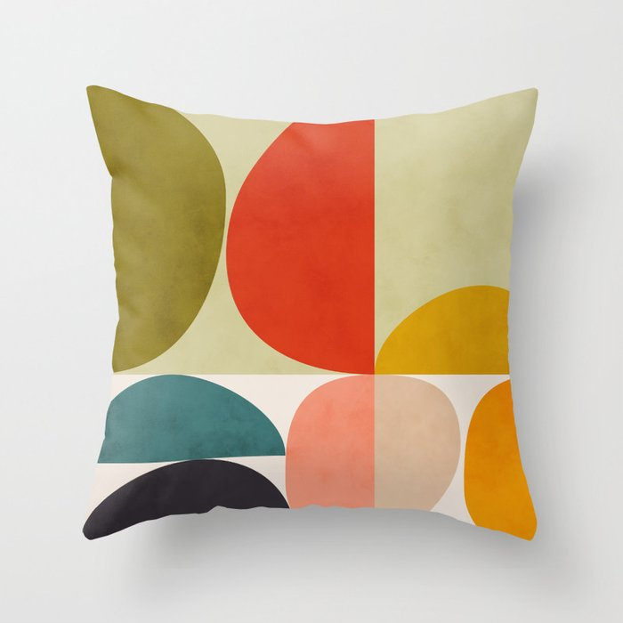shapes of mid century geometry art Throw Pillow