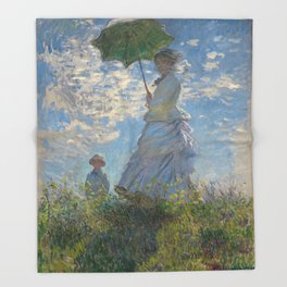 Woman with a Parasol - Madame Monet and Her Son Throw Blanket