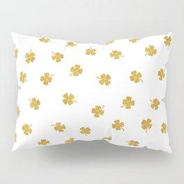 Golden Shamrocks White Background Pillow Sham