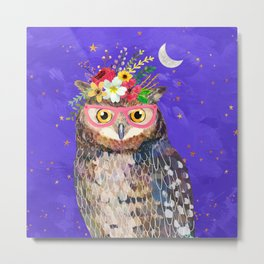 Owl with Pink Glasses Metal Print